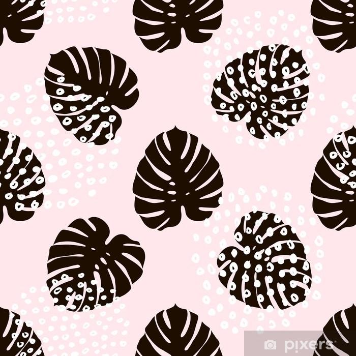 7779f8670 Fototapet av vinyl Palm Branch trendy sømløs mønster med håndtegnede  elementer. monstera blad bakgrunn. Flott for stoff, tekstil vektor ...