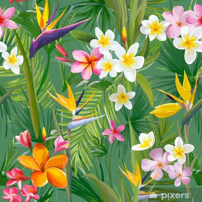 Papier Peint Feuilles De Palmiers Tropicaux Et Fleurs Jungle