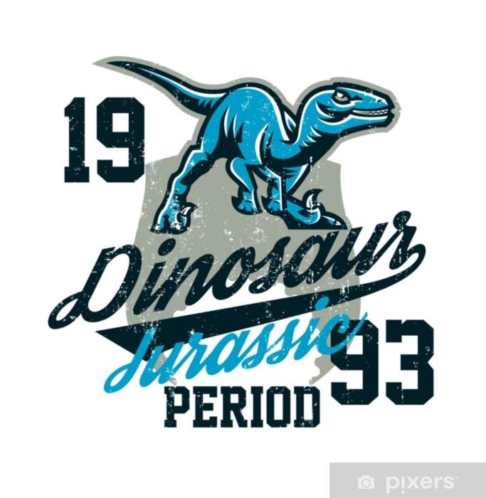 Naklejka Pixerstick Projekt do druku na koszulce, agresywny dinozaur gotowy do ataku. okres jurajski, drapieżnik starożytności, styl sportowy. Ilustracja wektorowa, efekt grunge - Zwierzęta