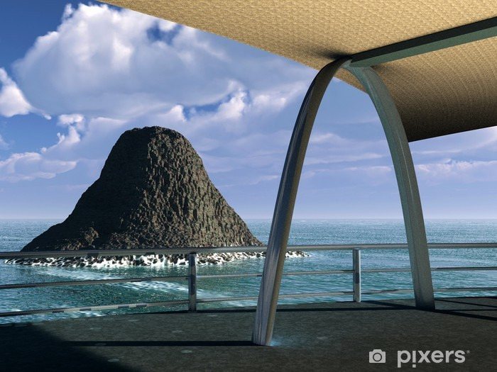 Carta da Parati in Vinile La visualizzazione su roccia - Isole