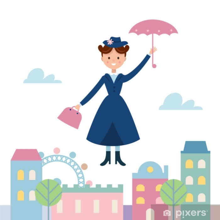Baby Sitter Mary Poppins Flying Over the Town. Vector Illustration Pixerstick Sticker - People