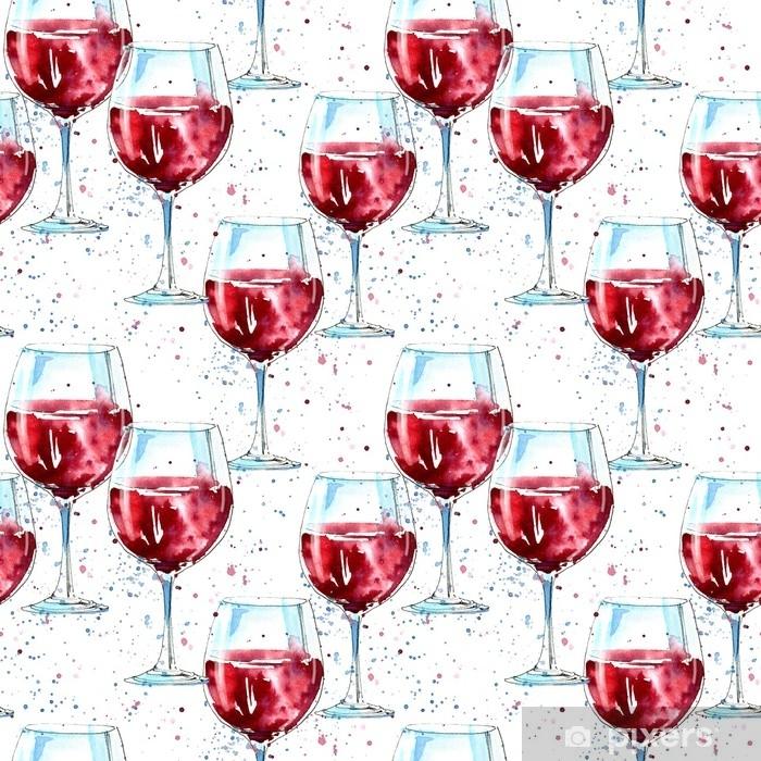 Vinilo para Mesa y Escritorio Sin patrón de un vaso de vino tinto y salpicaduras. imagen de una bebida alcohólica drink.watercolor dibujado a mano ilustración.blanco fondo. - Bebida
