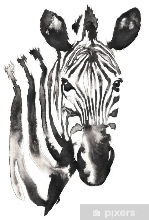 Su Ve Murekkeple Siyah Beyaz Tek Renkli Boyama Zebra Illustrasyonu