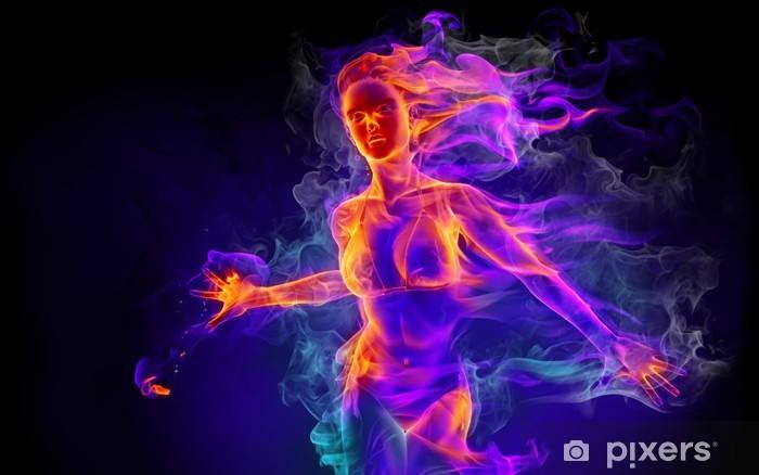 Nálepka Pixerstick Oheň dívka - Struktury