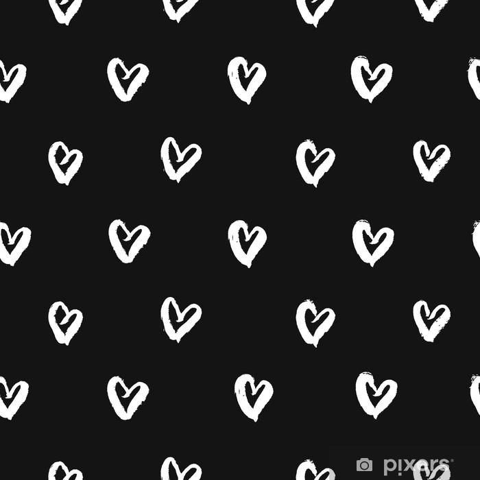 Seamless Pattern With Hand Drawn White Hearts. Cute Black And White  Background. Vector Illustration. Self Adhesive Wall Mural