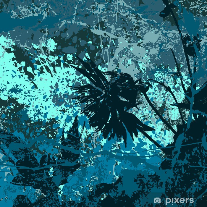 Grunge vector background in blue Vinyl Wall Mural - Themes