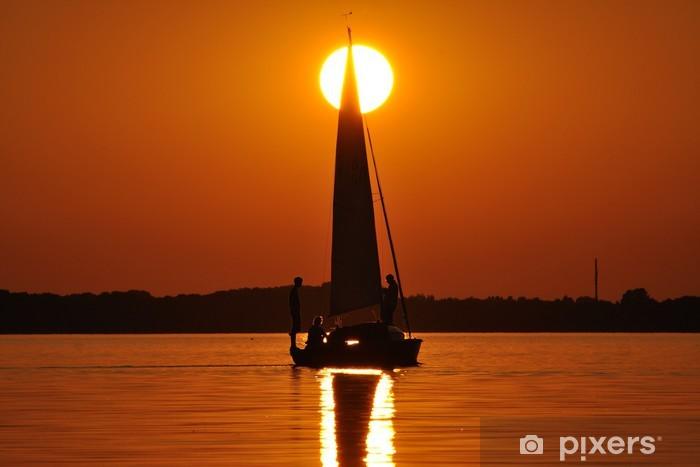 Fotomural Estándar Navegación en el foso de puesta de sol - Agua