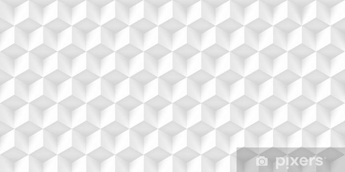 Alfombrilla de baño Textura realista volumen, cubos grises, patrón geométrico 3d, fondo claro del vector de diseño - Recursos gráficos