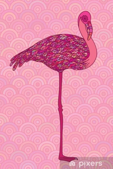 Pixerstick Sticker Roze decoratieve flamingo. - Dieren