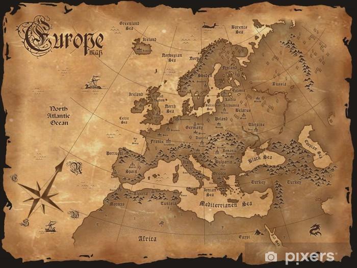 Vintage Europe map horizontal Pixerstick Sticker - Themes