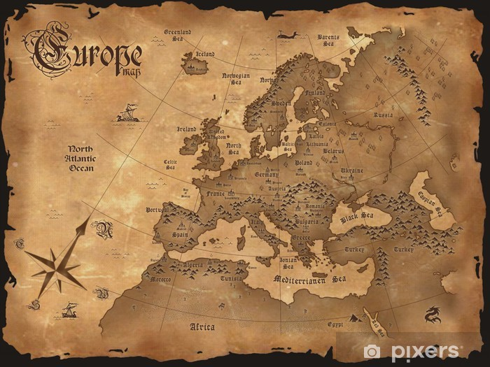 Vintage Europe map horizontal Vinyl Wall Mural - Themes