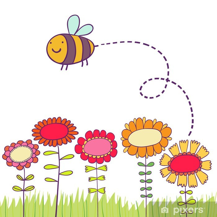 Carta da Parati in Vinile Cartoon ape sorvolano fiori - Sfondi