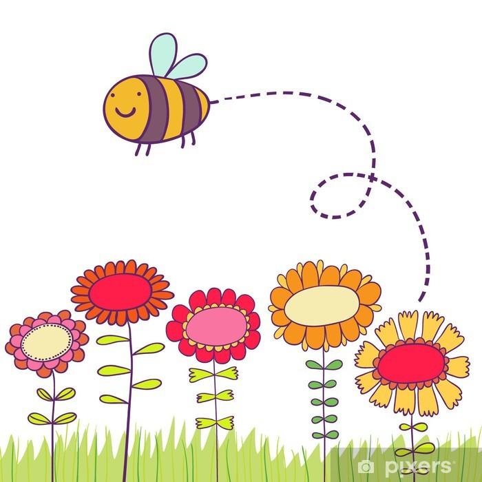 Vinyl Fotobehang Cartoon bee vliegen over bloemen - Achtergrond
