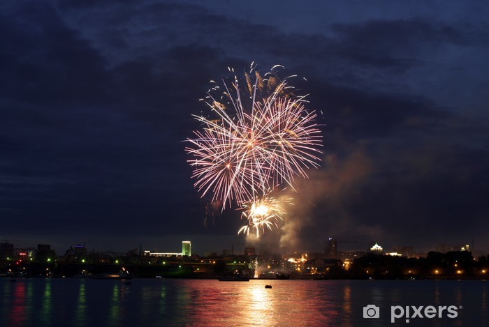 Fotomural Estándar Noche de fuegos artificiales de la ciudad - Abstractos
