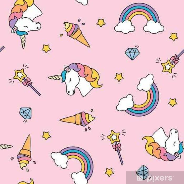 Seitenschläferkissen Einhorn, Regenbogen und Zauberstab Pastellfarben nahtlose Muster - Grafik-Ressourcen