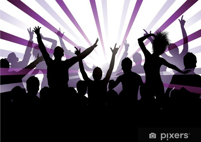 Sticker Pixerstick Fond Musical - Groupes et foules