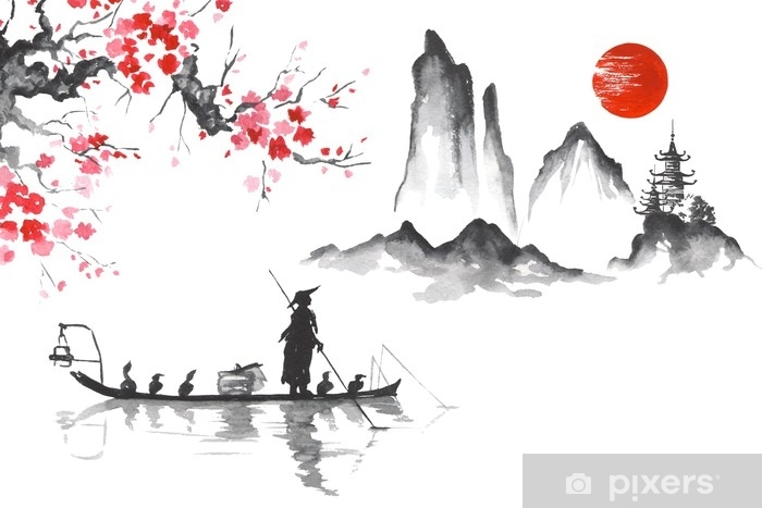 Japan Traditional Japanese Painting Sumi E Art Man With Boat Wall Mural Vinyl