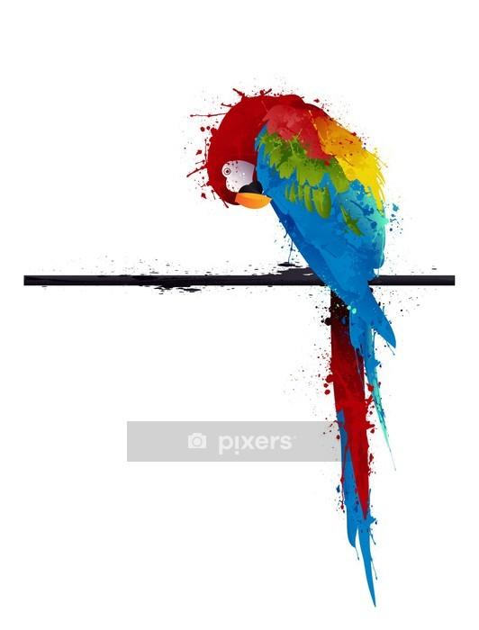 Duvar Çıkartması Vektör papağan parakeet, grafiti -