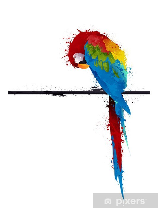 vector parrot parakeet, graffiti Pixerstick Sticker - Themes