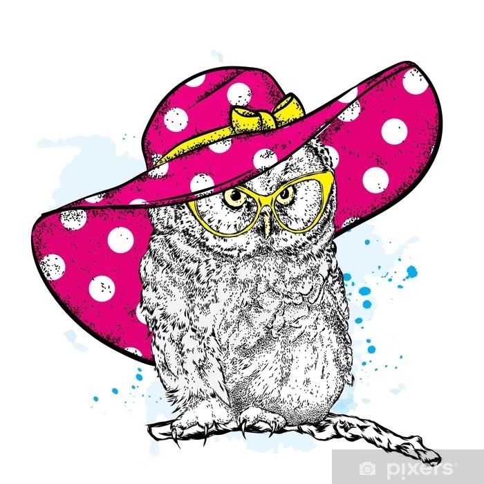 Naklejka Pixerstick Zabawna sowa w piękny kapelusz plażowy i okulary przeciwsłoneczne. ilustracji wektorowych na pocztówkę lub plakat, wydrukuj ubrania, kubek lub okładka. ptak malowany ręcznie. lato, wakacje i wakacje. - Zwierzęta