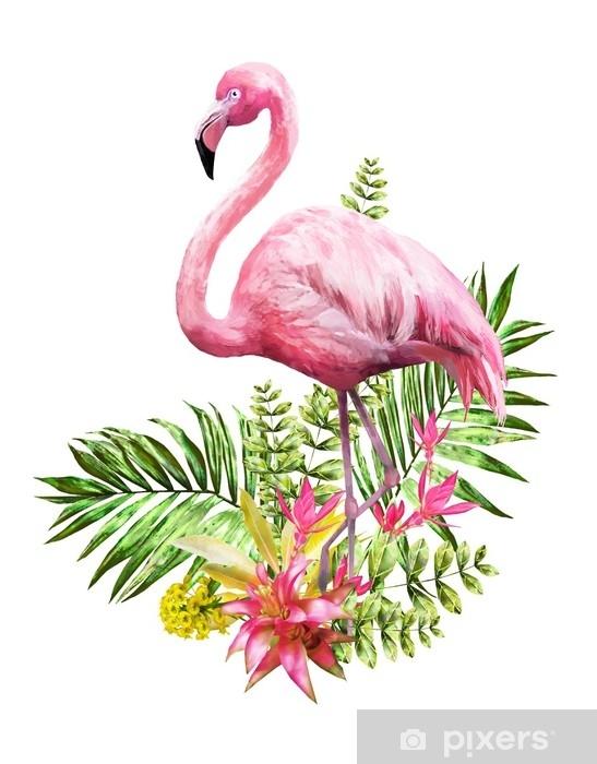 Autocolante Pixerstick Flores Tropicais Em Aquarela Cartão Com