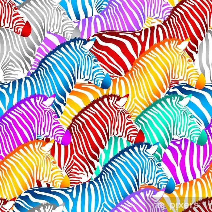 Naklejka Pixerstick Kolorowy wzór zebra. dzikie zwierzę tekstury. konstrukcja modne tkaniny tekstury, ilustracja. - Zwierzęta
