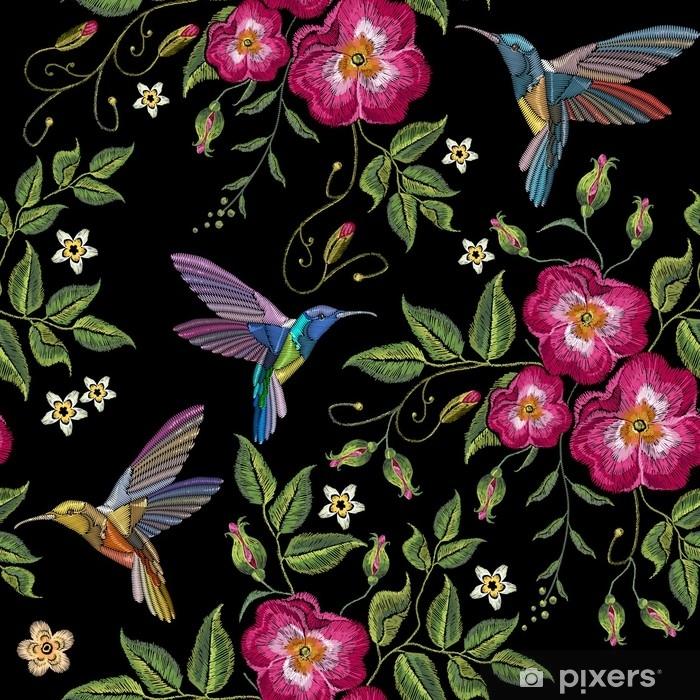 Naklejka Haft Nucic Ptak I Dzikie Roze Kwiaty Wektor Dogrose Haft