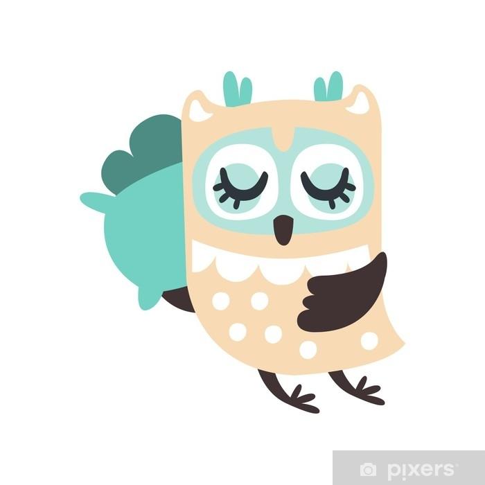Poster Netter Karikatureulenvogel, der bunte Charaktervektorillustration schläft - Tiere