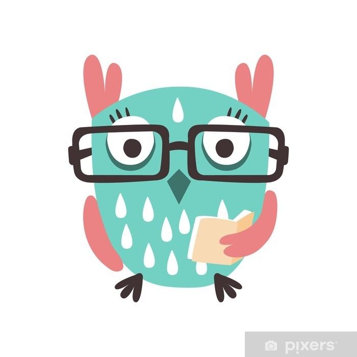Sticker Oiseau Chouette Dessin Anime A Lunettes Tenant Un Livre Illustration Vectorielle De Caractere Colore Pixerstick