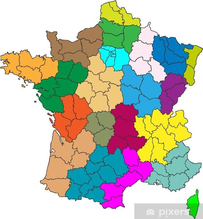 Fototapet Vector Karta Regioner I Frankrike Pixers Vi Lever
