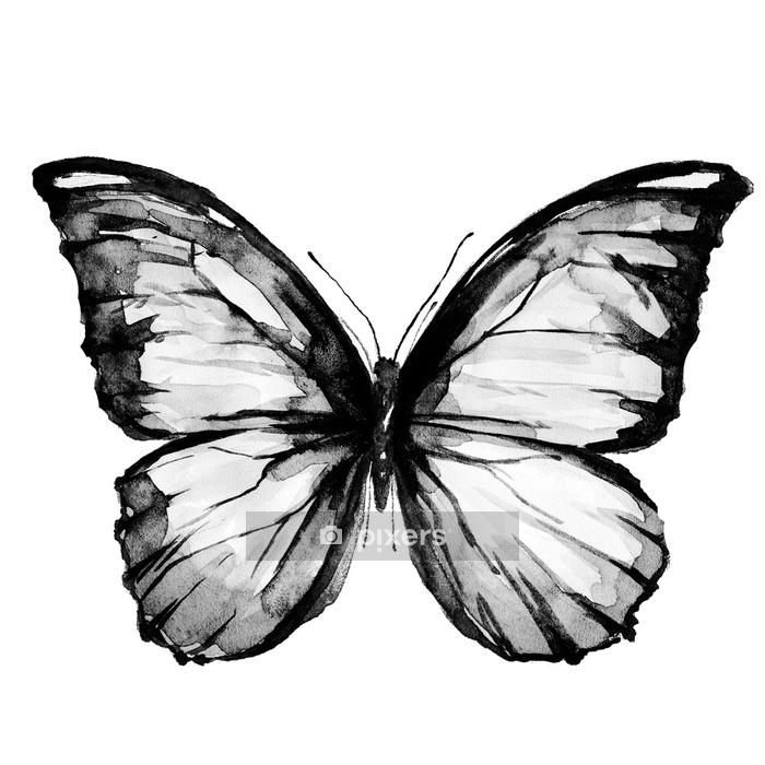 Wandtattoo Schwarzer Schmetterling, isoliert auf einem weißen - Tiere