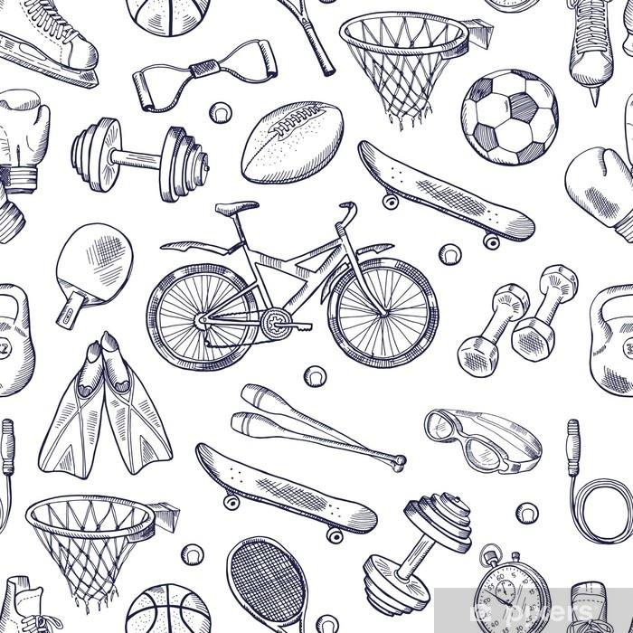 Poster Vecteur doodles dessinés à la main modèle sans couture de différents accessoires de sport - Ressources graphiques