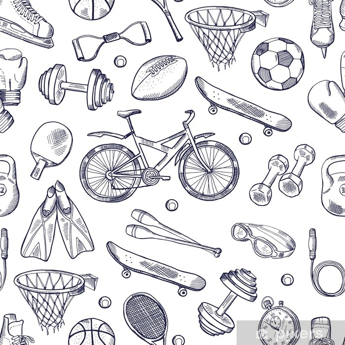 Vector doodles hand drawn seamless pattern of different sport accessories Poster - Graphic Resources