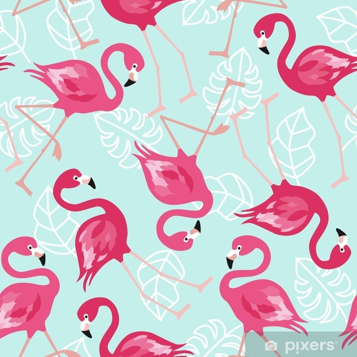 Flamingo seamless pattern on mint green background  Pink flamingo vector  background design for fabric and decor  Vector trendy illustration  Poster