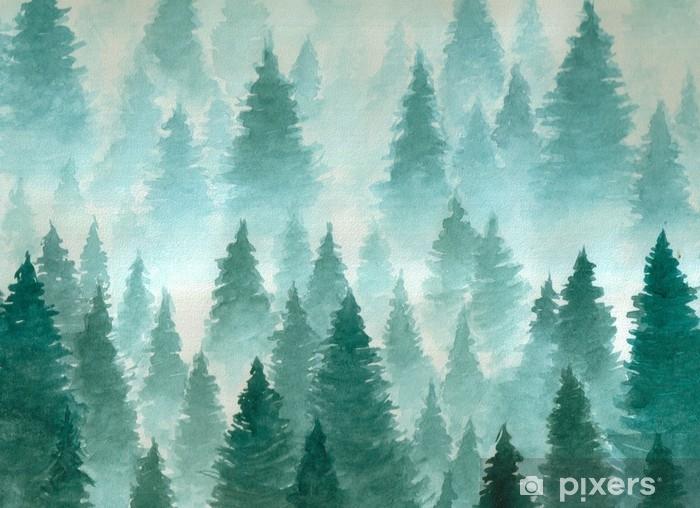 Zelfklevend Fotobehang Hand getekend aquarel illustratie. landschap van bewolkt, mysticus, naaldbos op ye bergpas. wolk, mist, bomen, kou, winter - Landschappen