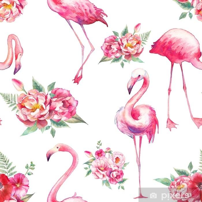 Papier Peint Autocollant Modele Sans Couture Aquarelle Flamant Rose Et Fleurs Texture Florale Peinte A La Main Avec Des Oiseaux Exotiques Lumineux Sur Fond Blanc Design De Papier Peint De Mode
