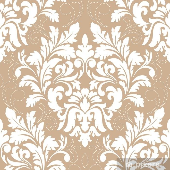 Naklejka Pixerstick Element adamaszku wektor wzór. klasyczny luksus staroświecki barokowy ornament, królewski wiktoriański bez szwu tekstury do tapet, tekstylne, owijania. wykwintny kwiatowy barokowy szablon. - Zasoby graficzne
