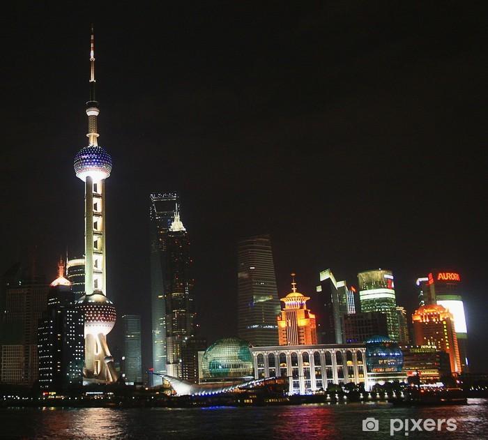 Carta da Parati in Vinile Shanghai / Cina - Pudong Skyline di notte - Città asiatiche