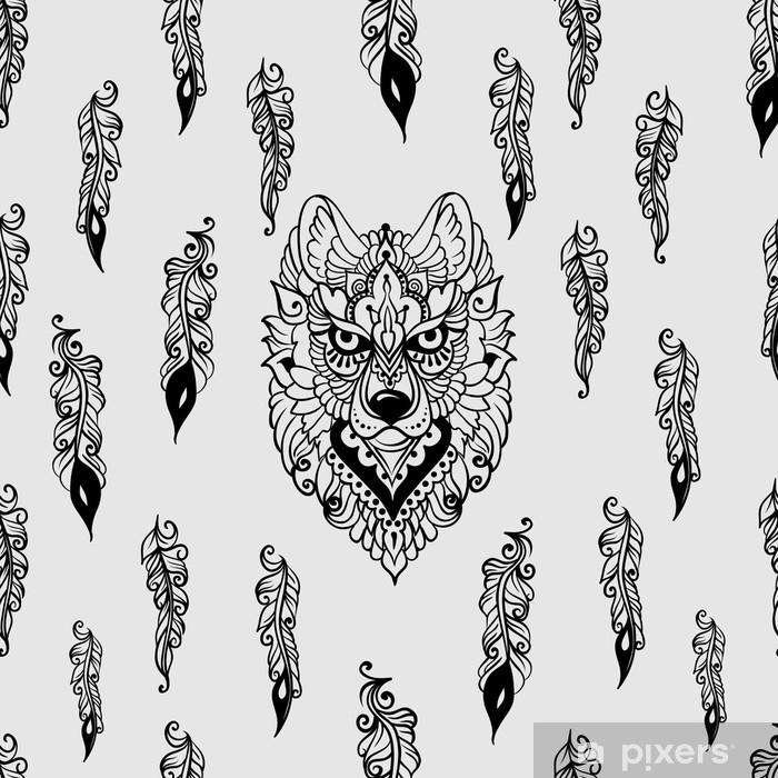 Plakat Wzór z wilkiem i piórami - Zwierzęta