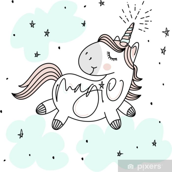 Adesivo Pixerstick Magico unicorno carino, stelle, nuvole e poster lettering mano, cartolina d'auguri, illustrazione vettoriale con contorno - Animali