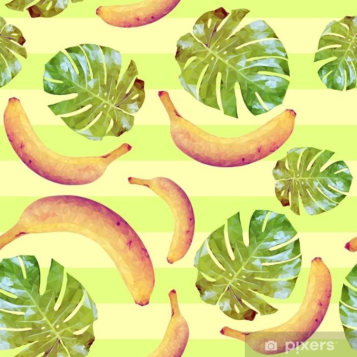 Plakat Wzór z bananów i liści palmowych - Jedzenie