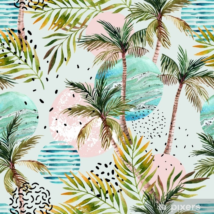 Abstract Summer Tropical Palm Tree Background Poster