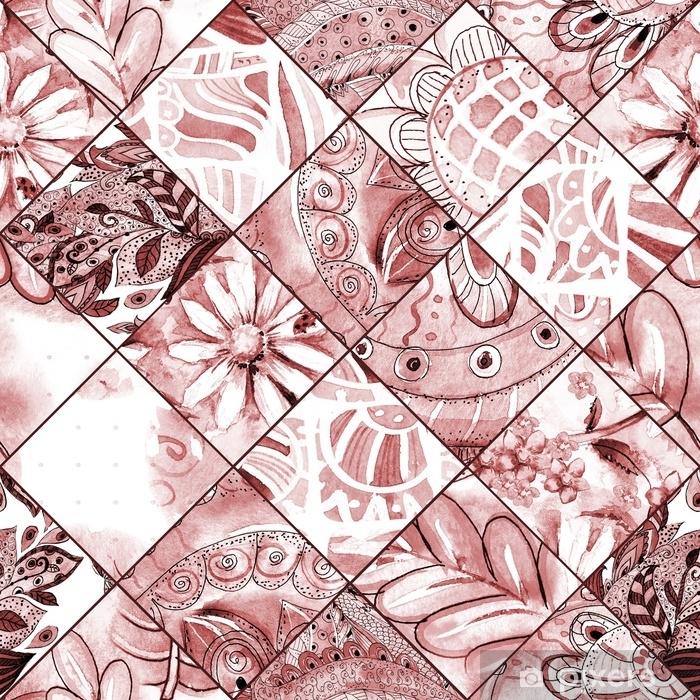 Papier Peint Autocollant Texture transparente monochrome avec motif floral patchwork marron. la peinture à l'aquarelle - Passe-temps et loisirs
