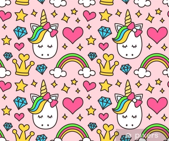 Fototapeta winylowa Ładny jednorożec, koncepcja księżniczki, dziewczyna piękna wzór na białym tle na różowym tle. wektor kreskówka. magia, baśń, serce, tęcza, korona, gwiazdy, diament - Zasoby graficzne