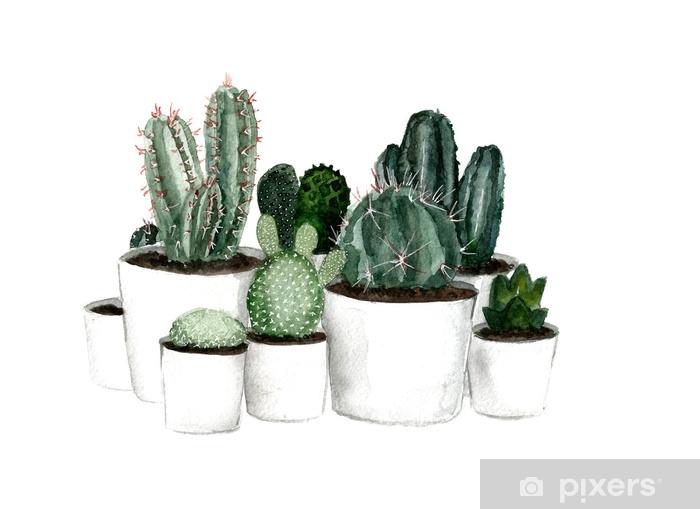 Fototapeta Winylowa Akwarela Zielony Kaktus W Białe Doniczki