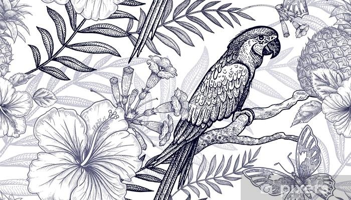 Papier Peint Modèle Sans Couture De Fleurs Et Oiseaux Dessin à Main Levée Noir Et Blanc Branches De Palmier Ananas Hibiscus Papillons