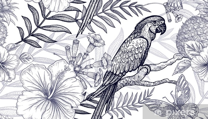 Sticker Modele Sans Couture De Fleurs Et Oiseaux Dessin A Main