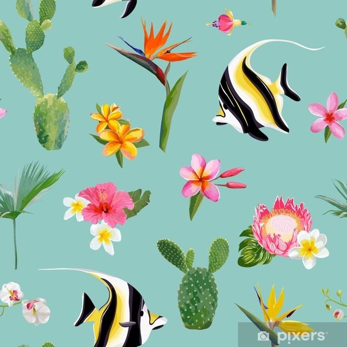 Fotomural Patron De Verano Floral Tropical Vector Inconsutil Para