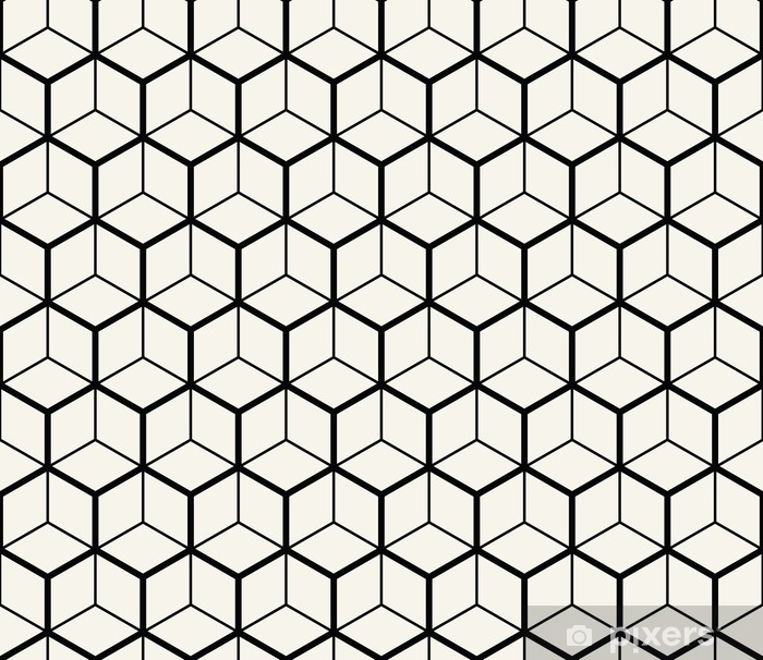 hexagon geometric line grid pattern vector background Wall Mural - Vinyl