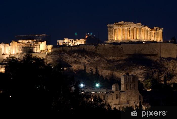 Fotomural Estándar Vista de la Acrópolis y el Partenón por la noche - Temas
